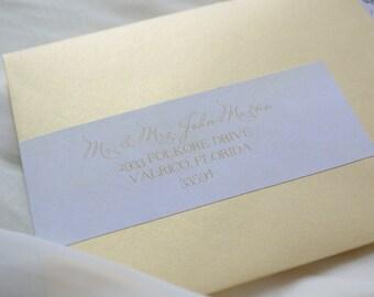 INSTANT DOWNLOAD Ombre & Gold Wraparound Wedding Invitation Address Wraps