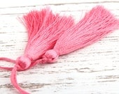Rosy Pink, Silk Thread Tassels, 2 pieces - Jewelry Supplies  // TAS-016