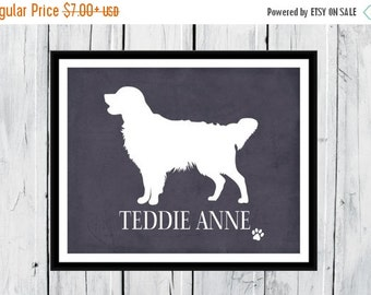 ONSALE Golden Retriever Silhouette Print - Personalized with Dog's Name  -  Custom Colors and Sizes