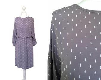 90's Grey Dress - 1990's Print Dress - Grey Midi Dress With Eye Motif