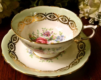 Paragon Fine Bone China Tea Cup and Saucer, Mint Green Floral Cluster, Gold Gilt, England