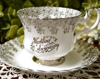 DISCOUNTED DAMAGED - Royal Albert Fine Bone China Tea Cup and Saucer, Silver Wedding Anniversary, England