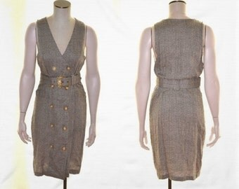 Brown Dress, Size S, Sleeveless Linen Dress, Vintage Dress, Brown & Tan Dress, Women's Dress with Belt, Secretary, Mad Men