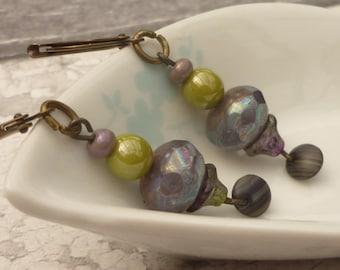 Purple and green drop earrings, Czech glass bead dangle earrings in peacock colours , vintage style earrings ready to ship from the UK