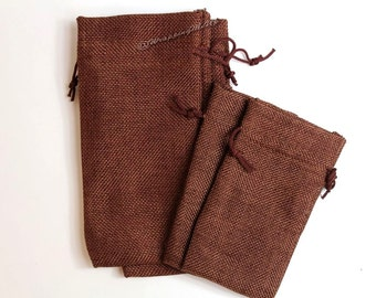 "60pcs -Asst ~Dark Burlap Organza bags -3x5"" & 4x7"" w/Drawstring, Vintage Gift Bags, Wedding Favor Sacks, Party Gift Bags, Jute Party Bags"