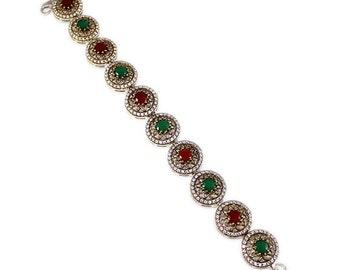 "Turkish Handmade Authentic Ottoman Ruby Emerald Sapphire Cubic Zirconia Multi Gemstone Vintage Style Bracelet Size 8"" :T922"