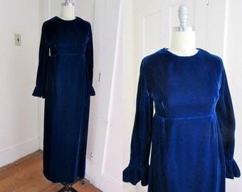 60s Blue Velvet Empire Waist Dress - Maxi -  Royal Blue - Ruffle Sleeve - Long Sleeve - Small - XS