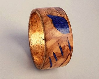 Olivewood Bangle/Bracelet with Lapis, Turquoise,  and Gold Leaf