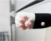 Cat hand paw Magnet - Tuxedo cat, Black and White, needle felted wool, magnet