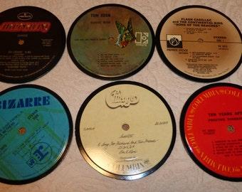 Vinyl Record Album LP Coasters set of 6 mixed artists #A3