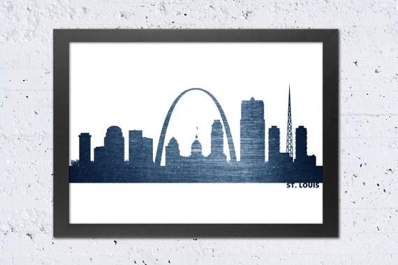 St. Louis Skyline Print St. Louis City Silhouette Print