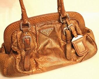 Prada Vintage Gold Python Leather Limited Edition Shoulder Bag