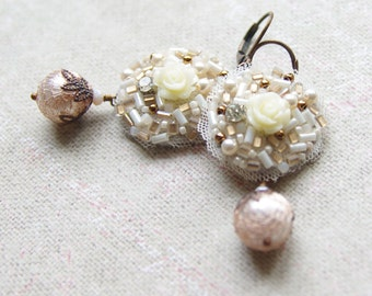 Ivory Rose Embroidered Earrings - Pearl Dangles - Round Antique Brass Jewelry - Bridal Wedding Gift