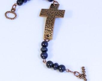 LAPIS COPPER CROSS Bracelet - Hammered Copper Cross