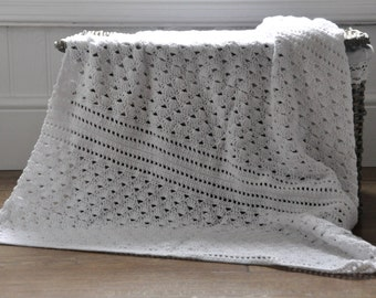 White Shell and Lace Blanket - Instant Download PDF Crochet Pattern