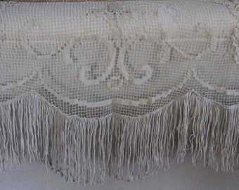 Vintage French curtain, French crochet filet curtain, French crocheted curtain, French vintage handiwork, French vintage design, French home