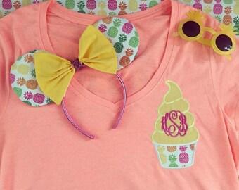 Dole whip monogrammed shirt pineapple fabric and dole whip minnie ears aloha isle