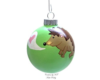 Hedgehog Love Ornament Glass Hand Painted Heart Made to Order
