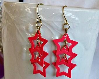 Hot Pink Stars Dangle Earrings