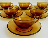 Vintage French Arcopal Glass Set of Six Coffee Cups