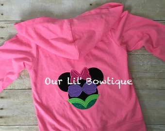 Personalized Kids or Toddlers Zip-Up - Personalized Sweatshirt - Personalized Minnie Inspired Zip Up - Hoodie -  Monogram - Minnie - Ariel