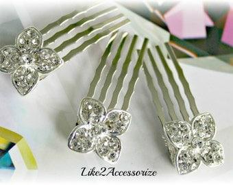 Bridal Hair Combs, Flower Girl Hair Accessories, Rhinestone Flower Comb, Bridesmaid Crystal Hair Comb, Wedding Hair Comb, Wedding Hair Cilp