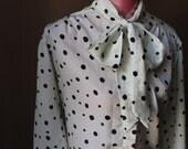 Vintage Black Polka Dot Tie Shirt