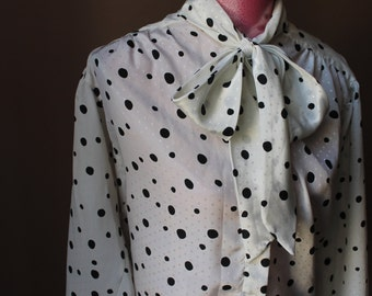 Vintage Black Polka Dot Tie Shirt