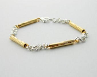 Silver and Gold Chain Link Bracelet - BR018