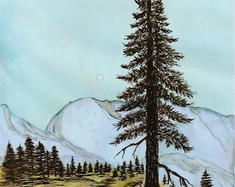 "Ink Drawing, ""High Country"", print, matted, backed, ready for framing"