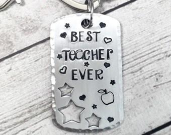 Best Teacher Ever Keychain - Teachers Gift - Teacher Keychain - Gift from Student - Gift for Teacher - Personalized Teacher Keychain