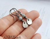 Minimalist Hammered Disc Earrings With Labradorite, Sterling Silver, Rustic Jewelry, Boho, Handmade