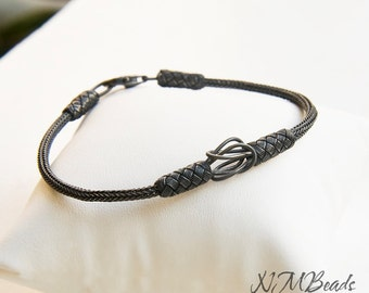 OOAK Mens Woven Chain Braided Bracelet Oxidized Fine Silver Love Knot Hand in Hand Mens Jewelry Viking Knit Boyfriend Gift For Him Kazaziye