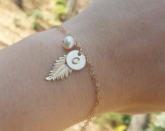Feather bracelet,Monogram jewelry,custom initial,long leaf,feather bracelet,bridesmaid gifts,bridal jewelry gift,wedding party gift