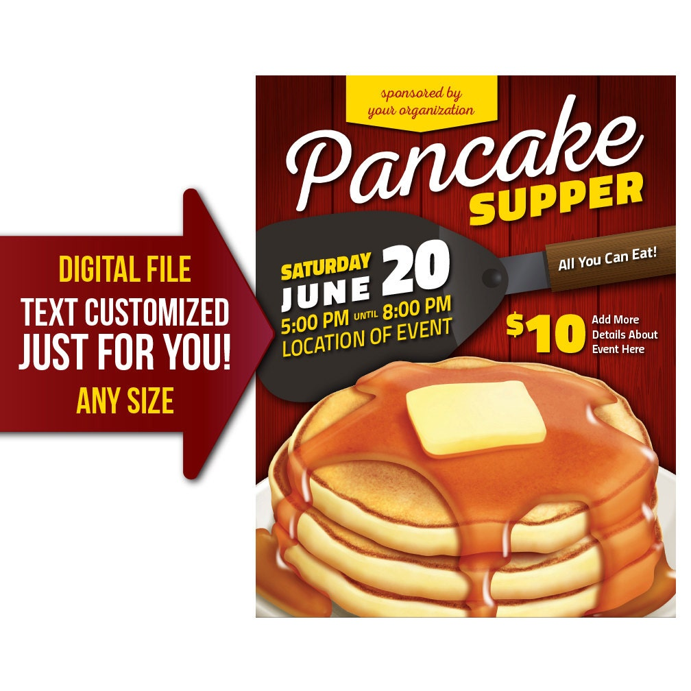 fundraiser flyer personalized pancake supper breakfast fundraiser flyer invite printable poster customized invitation postcard shrove tuesday