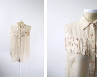 1980s silk western blouse with fringe
