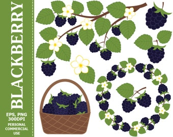 BUY 1 GET 1 FREE - Digital Blackberry Clip Art - Leaves, Branch, Wreath, Berry, Blackberry Clip art. Commercial and Personal use