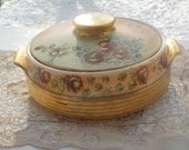 Casserole Dish with lid, Vintage Vegetable Dish, Vintage Dishes, Vintage Kitchen, Country Kitchen, Kitchen Decor, 78  Hand Painted :)S