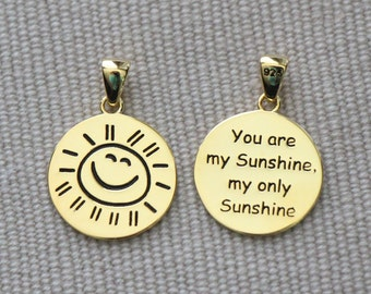 You Are My Sunshine Charm - My Only Sunshine - Gold Sterling Silver Charm- Daughter Jewelry- Christmas Gift