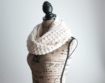 Crochet Infinity Scarf - Knit Infinity Scarf - Crochet Scarf - Cotton Blend - Super Soft - Ivory