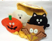 SALE OOAK Egg Cosy Set Wool Felt Halloween pumpkin owl cat ghost