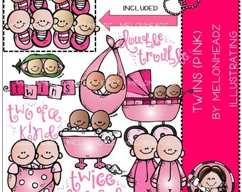Twins clip art - (pink) - Combo Pack