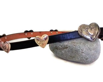 Vintage Justin Concho Cowgirl Belt, Black Leather, Silver Heart Concha Rodeo Southwest Belt 32 USA 1991