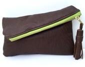 Dark Brown leather fold over tassel clutch