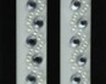 Pair of Self Adhesive ~ Bling Strips - White Pearl/Silver Rhinestones ~ Papercrafting - Cards - Scrapbooking