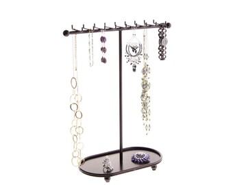 Necklace Holder Organizer Display Stand Jewelry Storage Rack - Angelynn's Gianna Jewelry Tree (Rubbed Bronze)