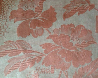 French Toile Damask Ticking Coral Roses, Unused, Sewing Patchwork Supply, French Textile