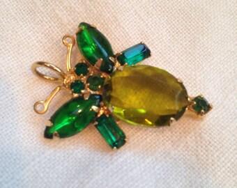 Vintage Rhinestone Bug Pendant Shades of green
