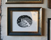 Girl and Rabbit Framed Linocut Print Limited Edition of 100