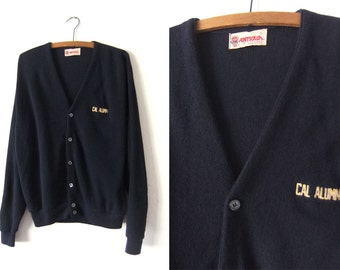 CAL Berkeley Alumni Cardigan Sweater - California Golden Bears 80s Preppy Vintage Grandpa Sweater - Mens Large